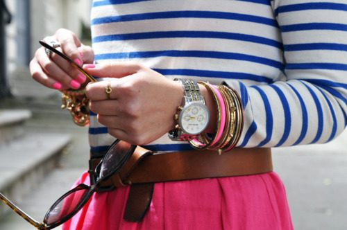 stripes and neon pink