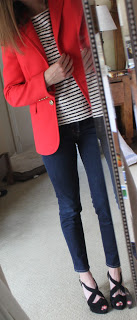 red blazer + sequin stripes