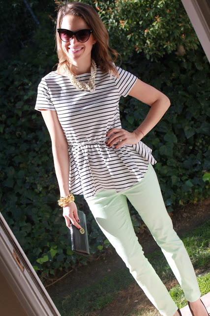 mint jeans and striped peplum