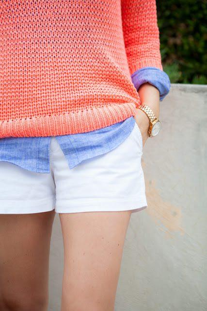 orange white & chambray