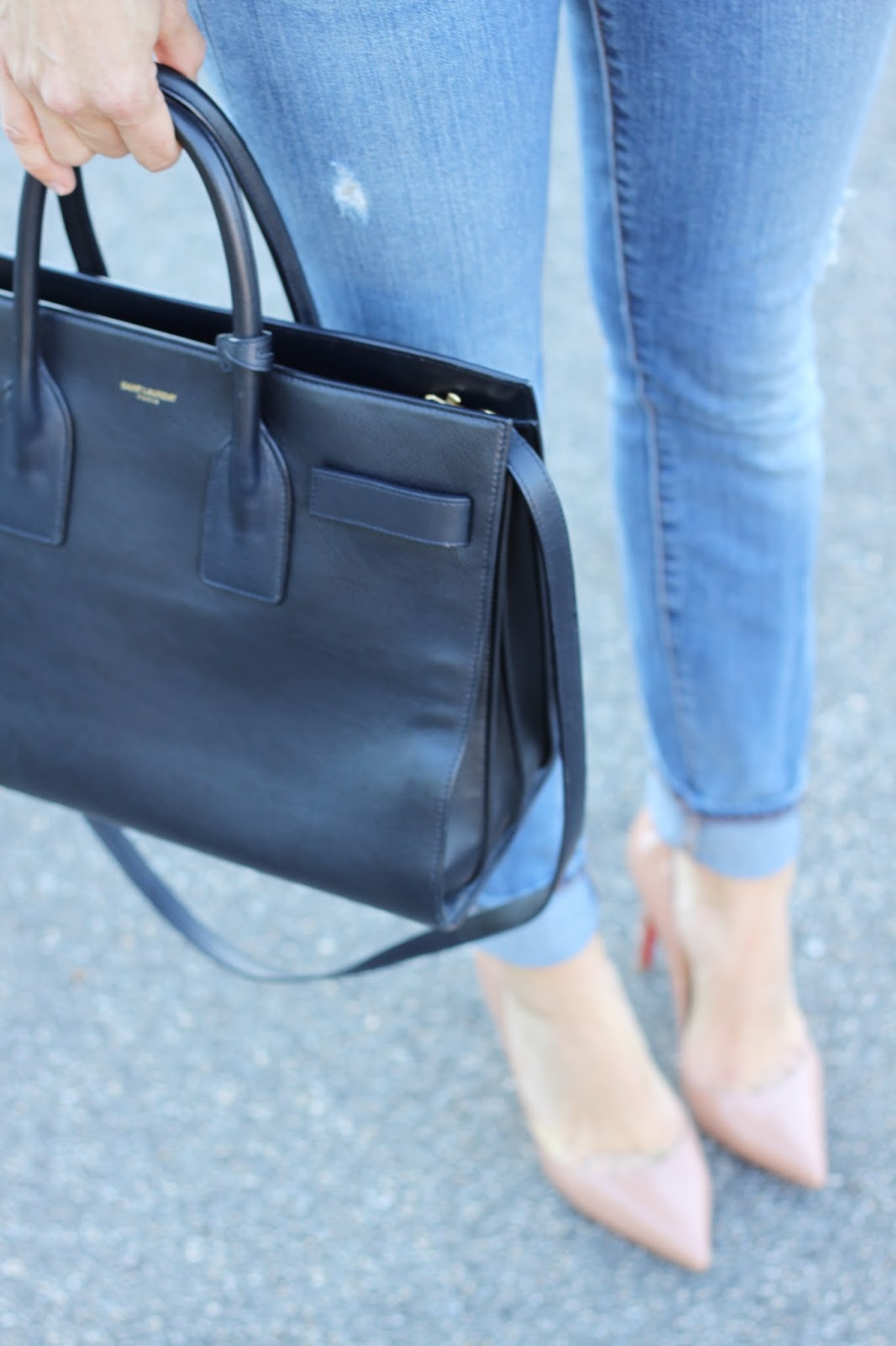 navy saint laurent handbag