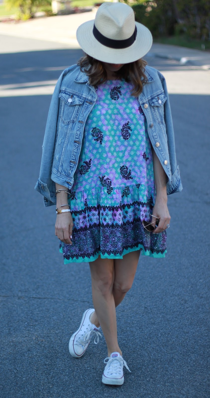 printed sundress and jean jacket