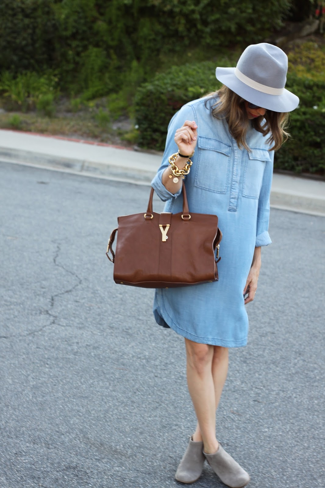 chambray dress and booties