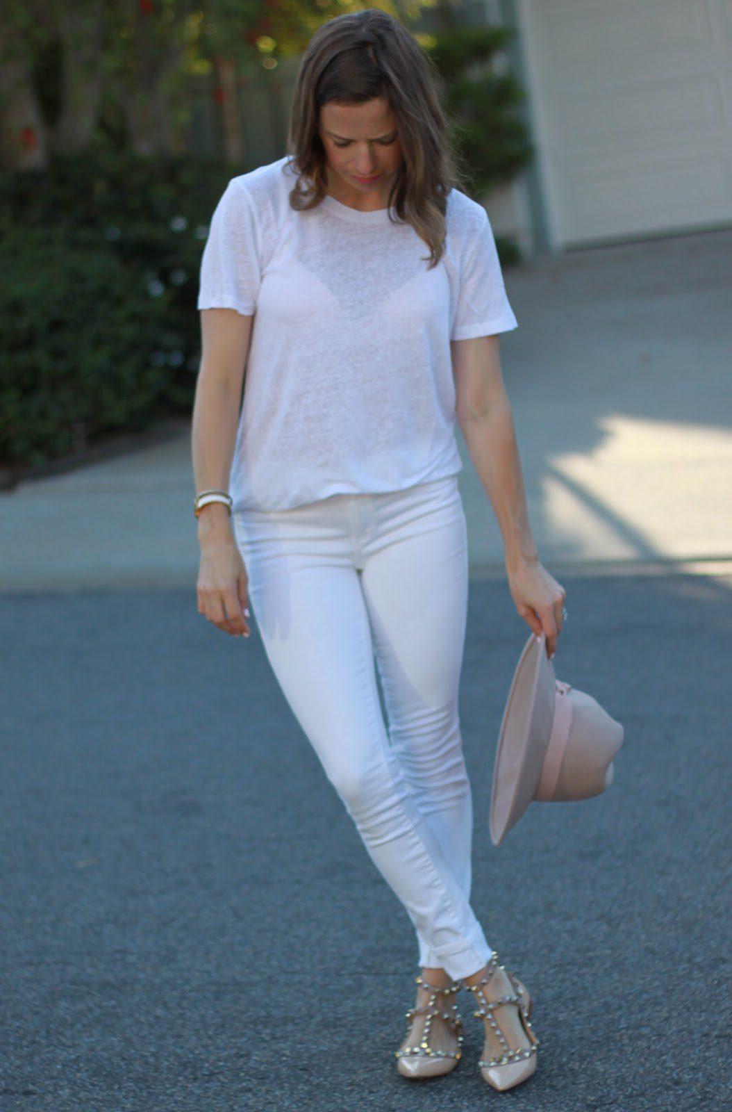 white tee white jeans