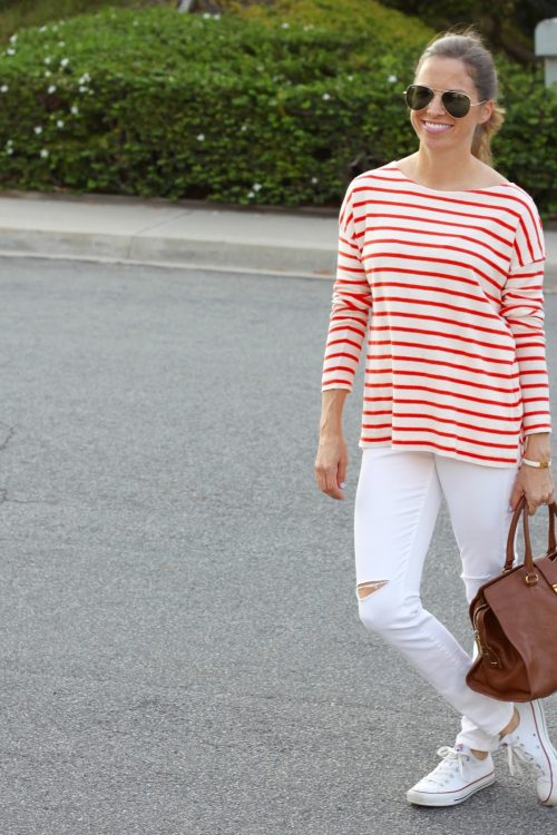 red stripes and ripped jeans