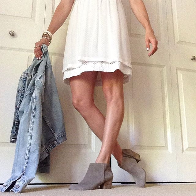 white dress and booties