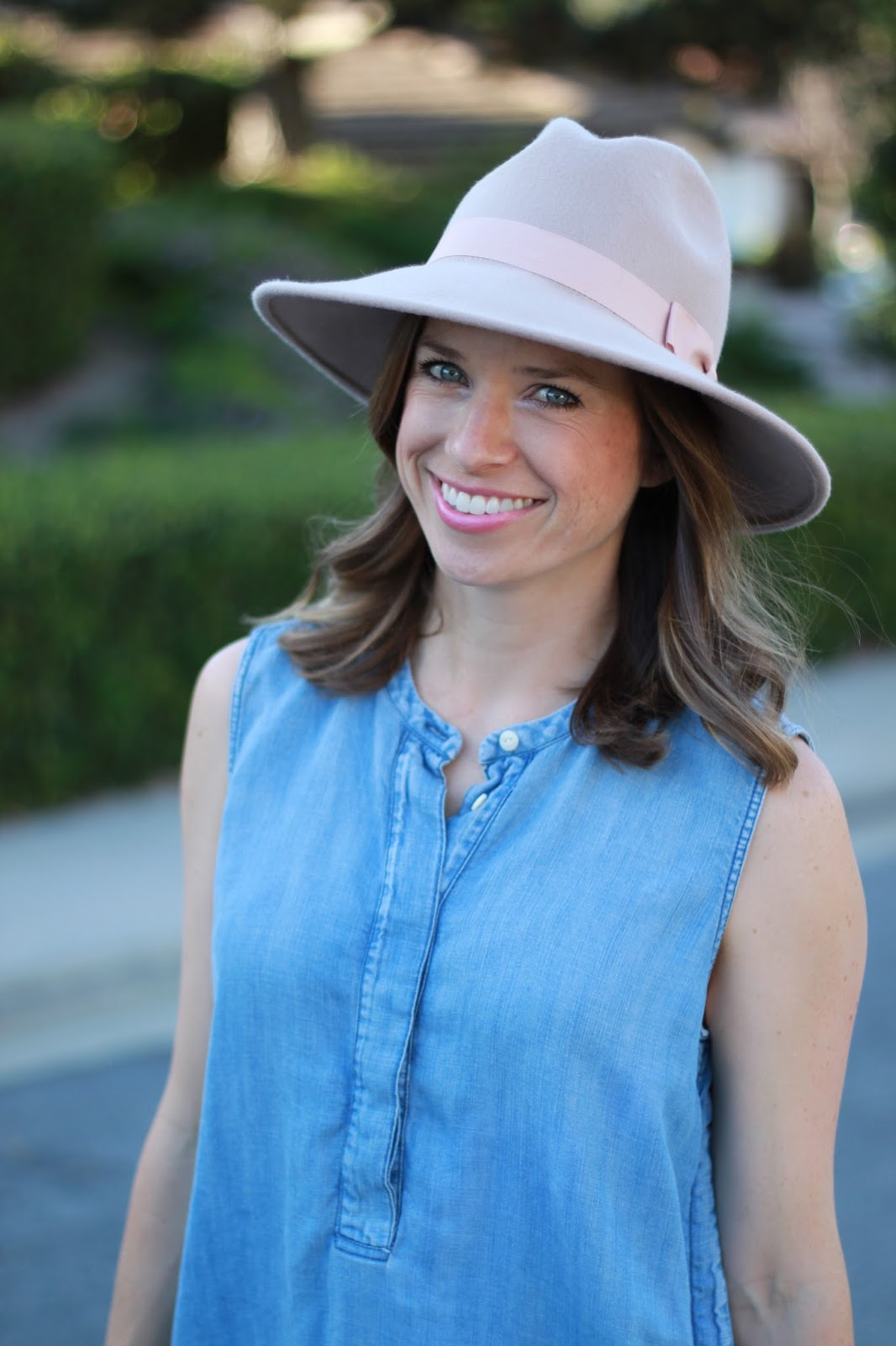 chambray and fedora