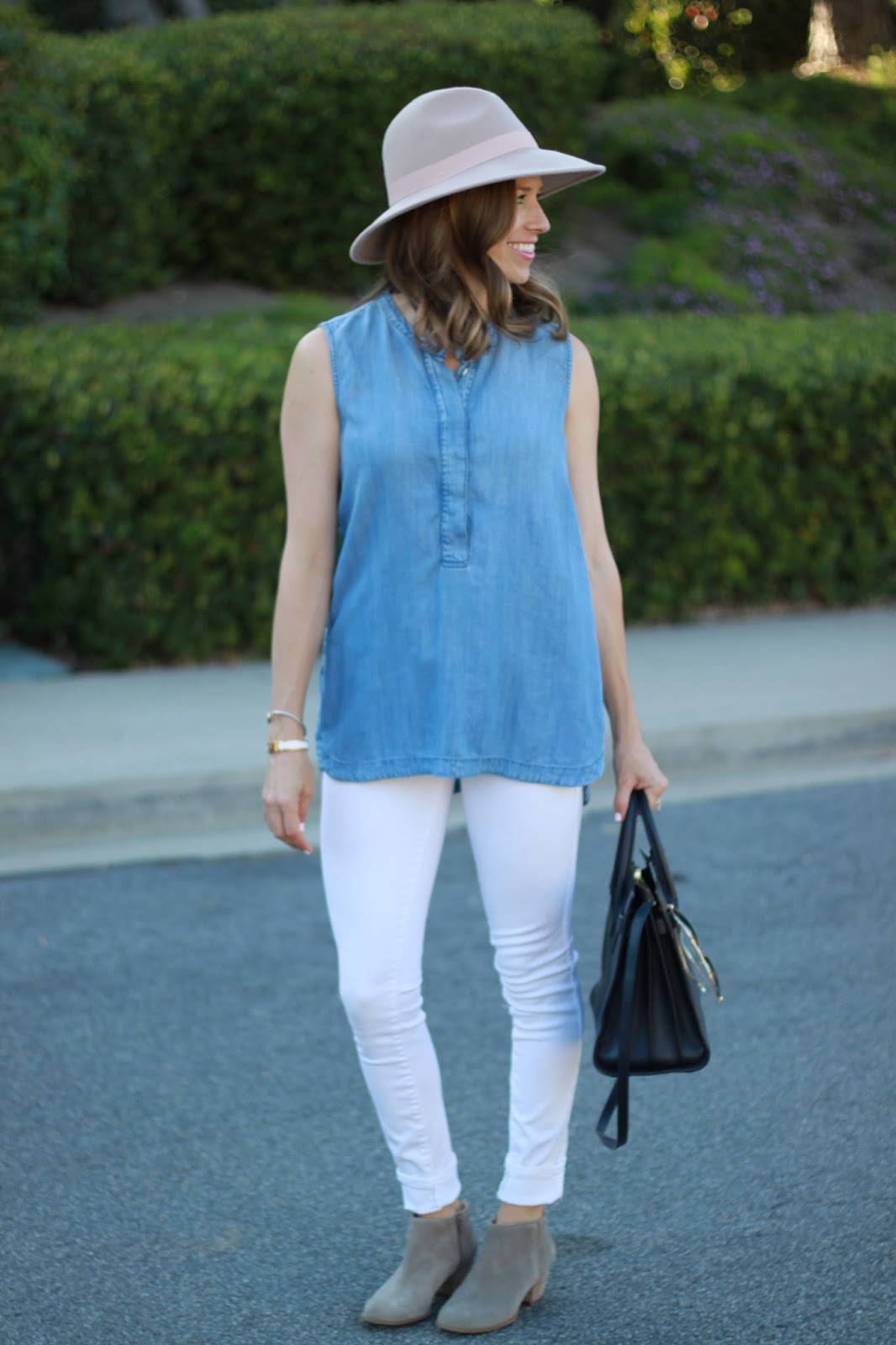 white jeans and ankle booties