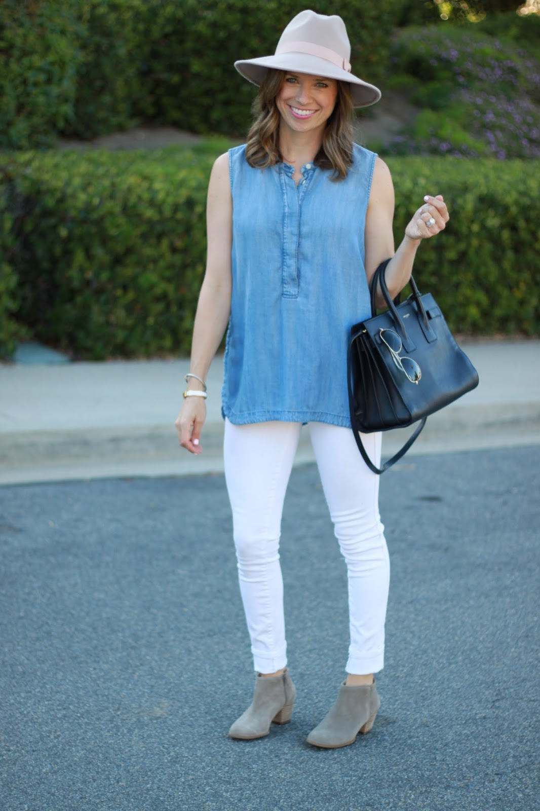 white jeans and chambray