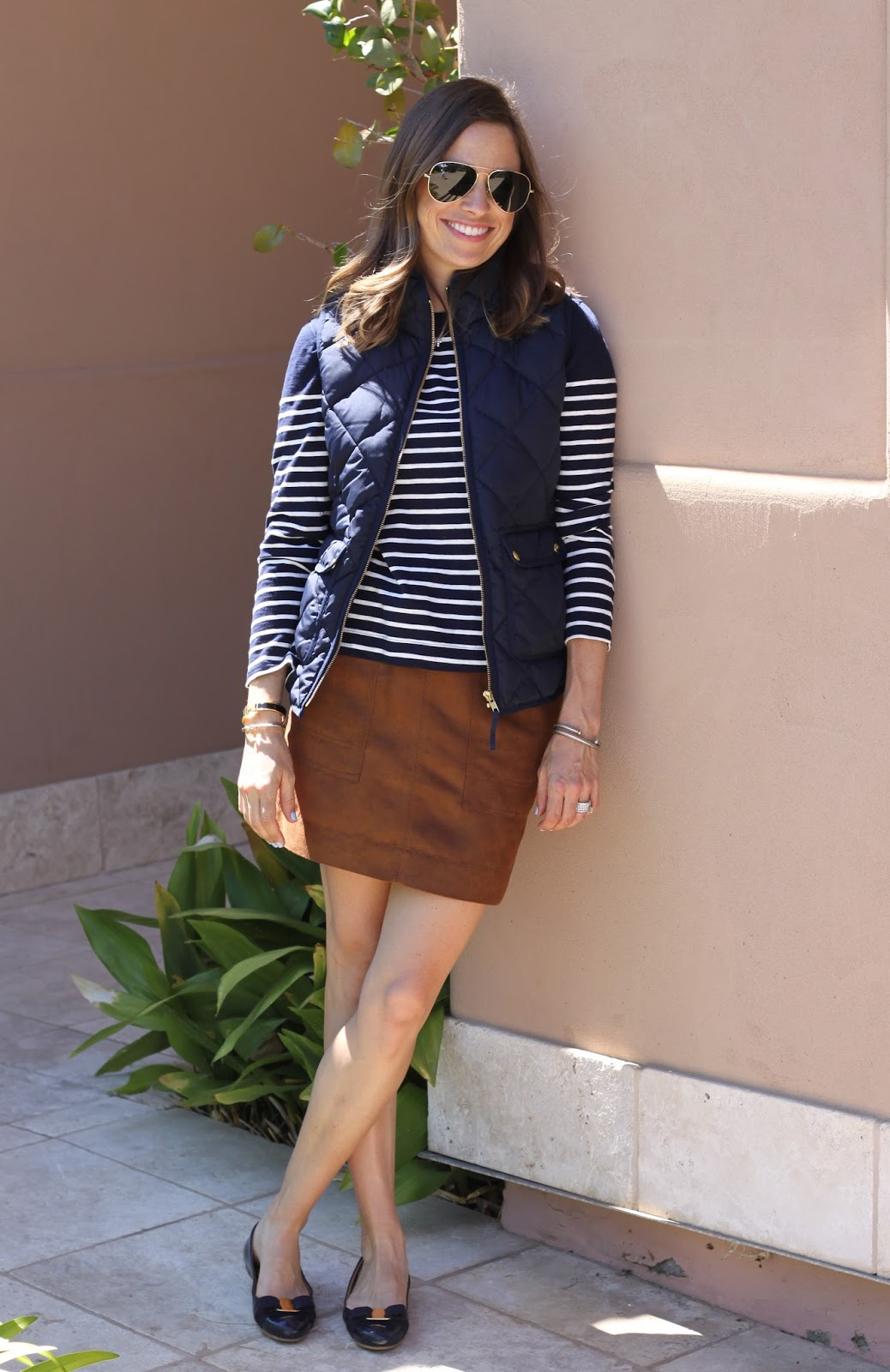 navy stripes and vest
