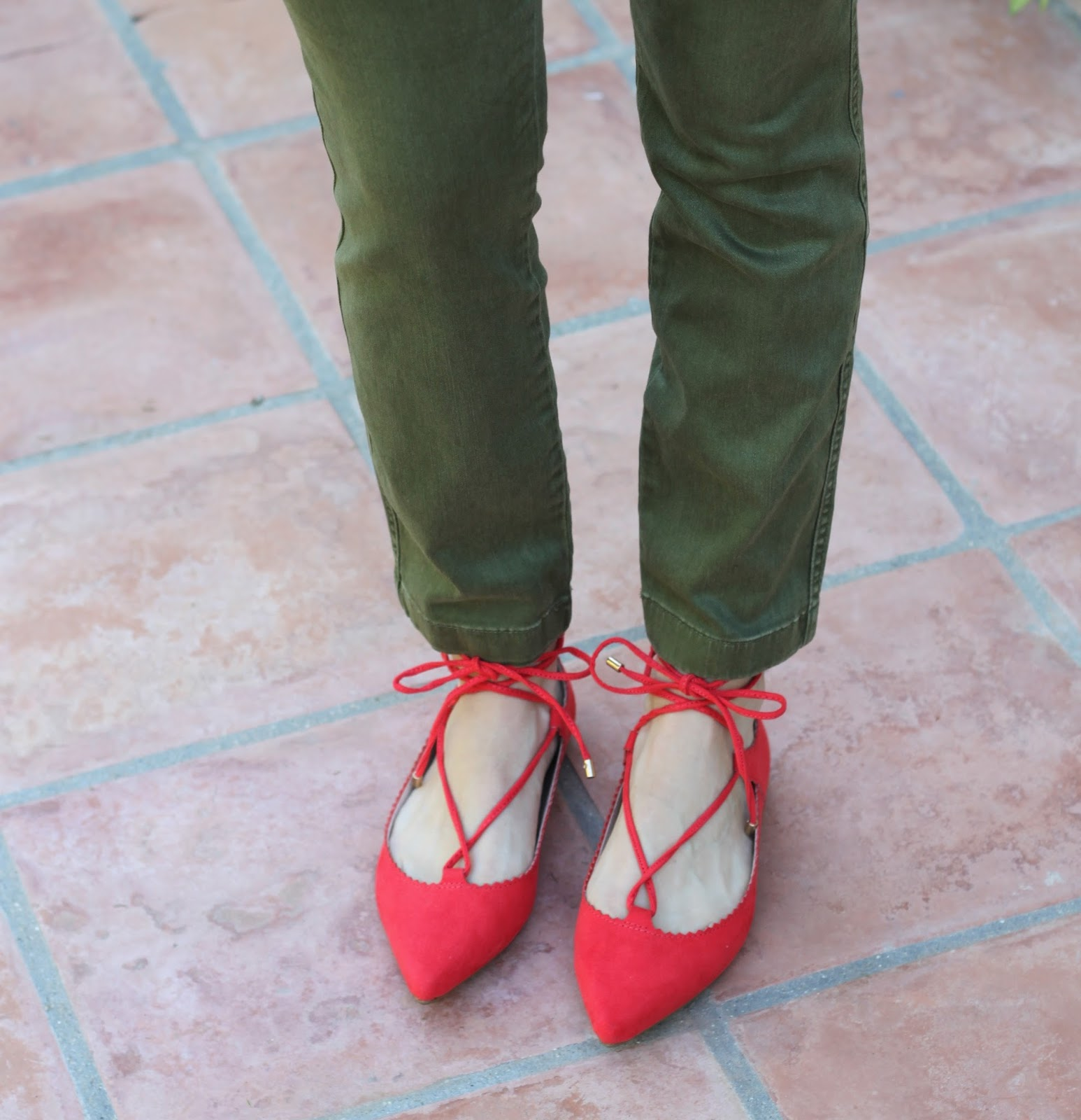 red lace up flats