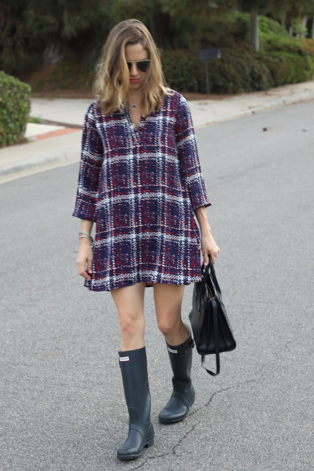 navy plaid shift dress