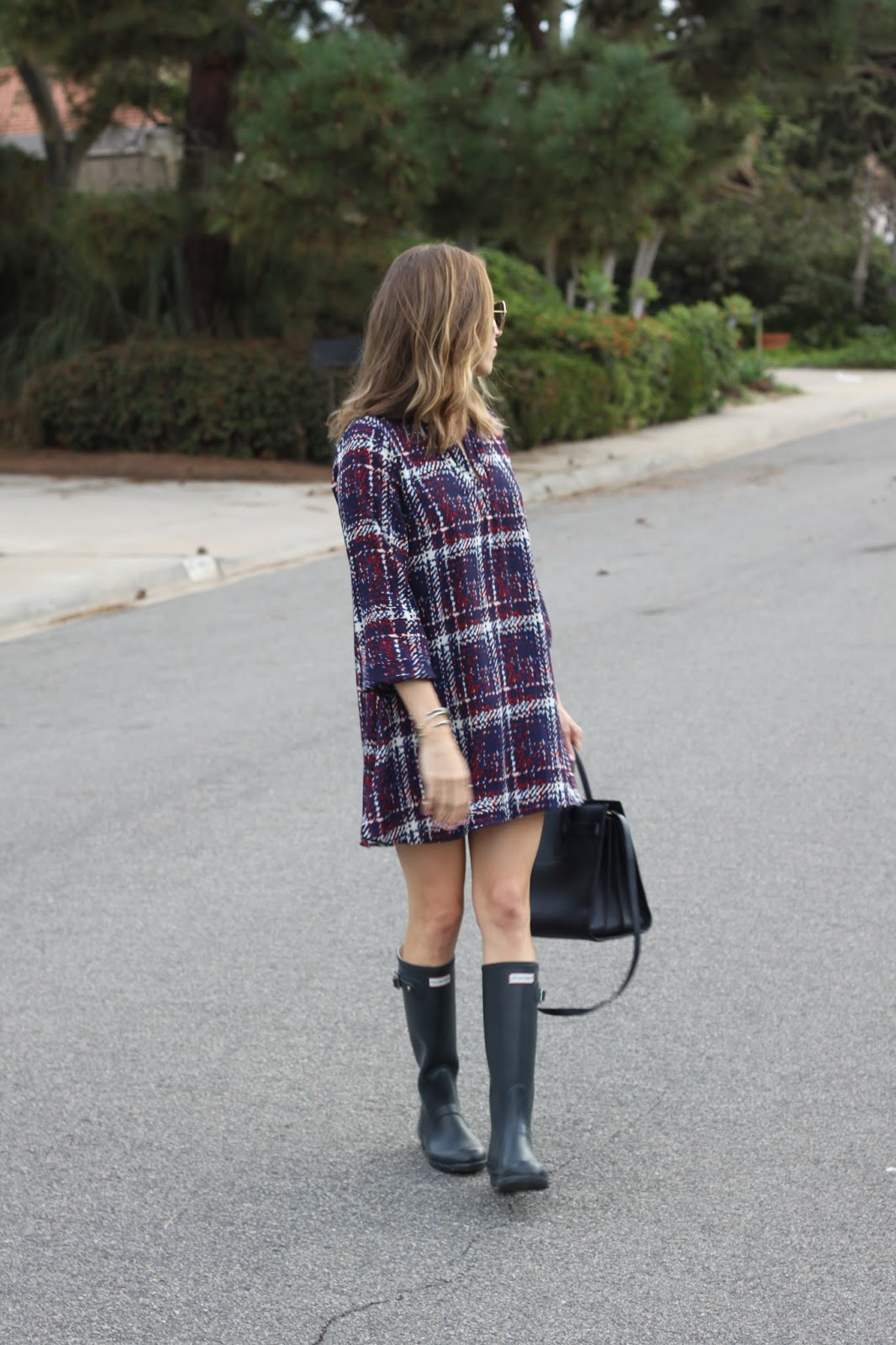 navy hunter boots and dress