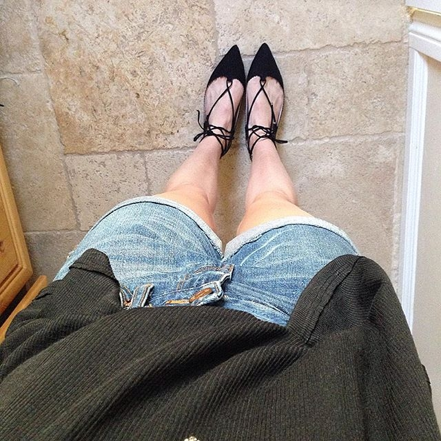 black lace up flats