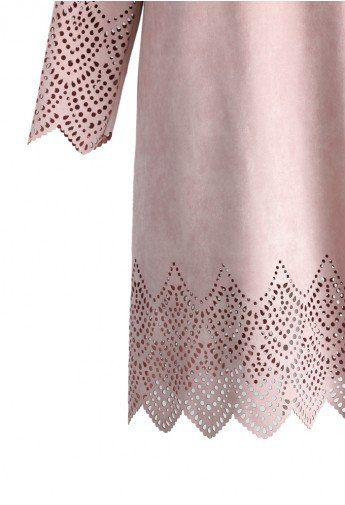 laser cute blush pink suede shift dress