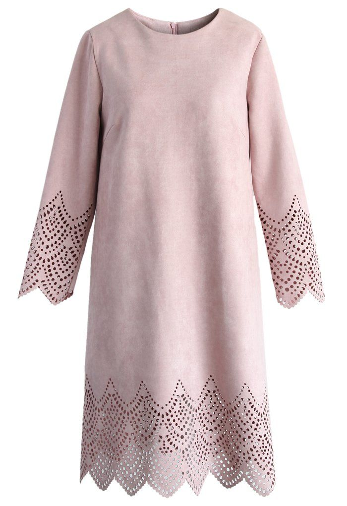laser cute blush pink suede shift dress