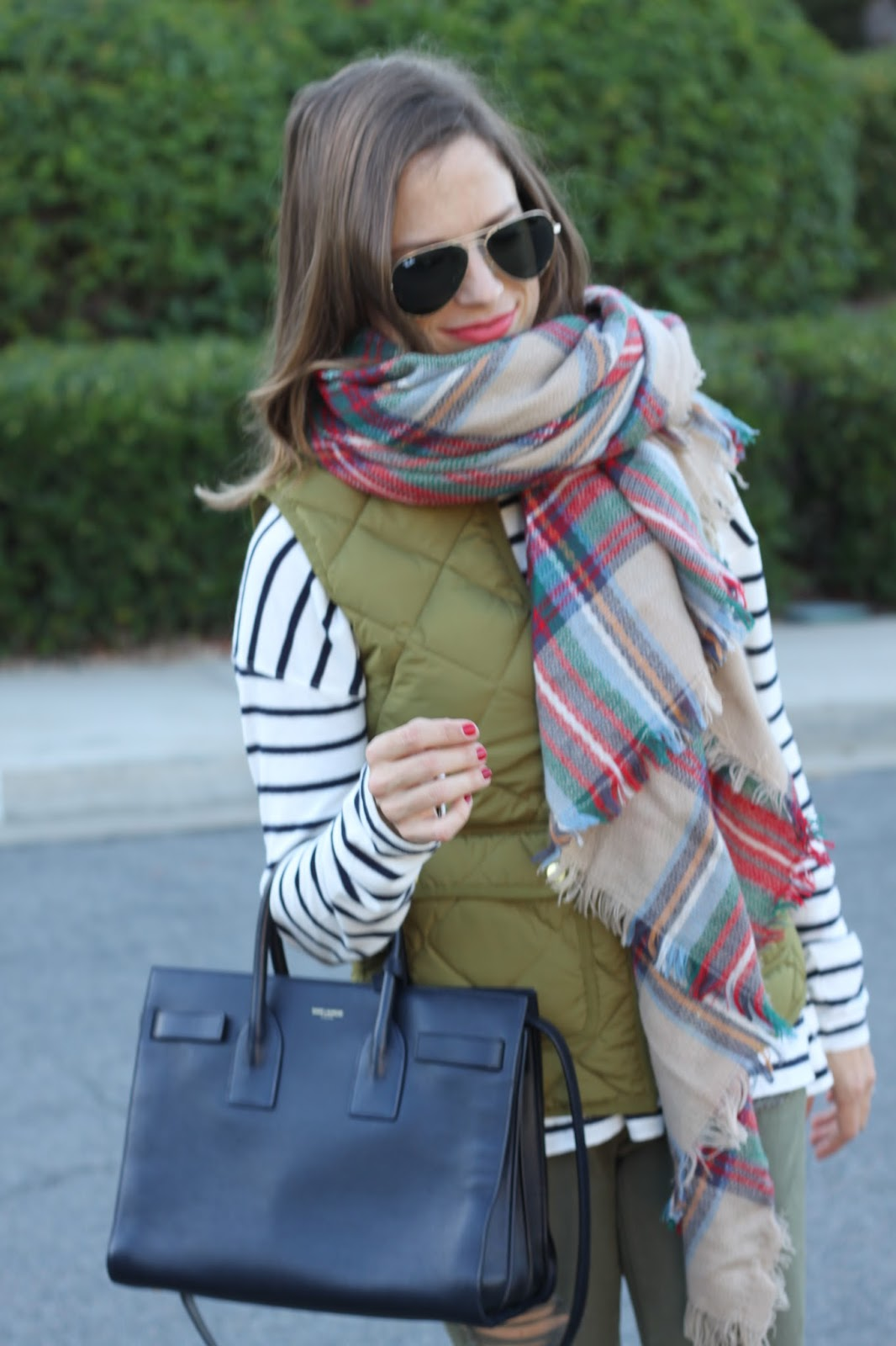 plaid and stripes outfit