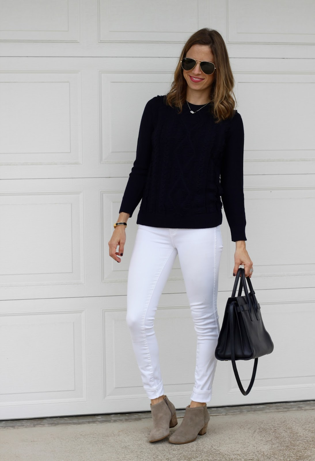 navy and white outfit