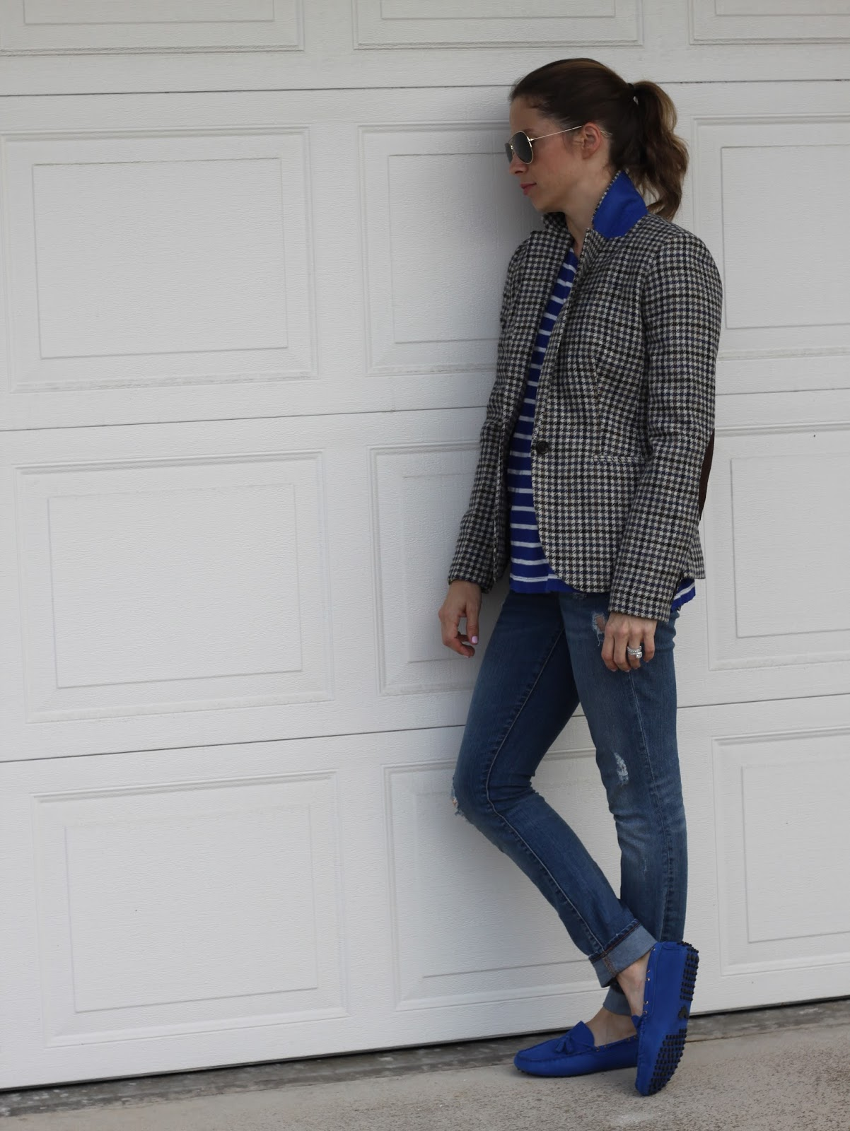 blazer and distressed denim