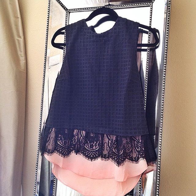 black and blush lace top