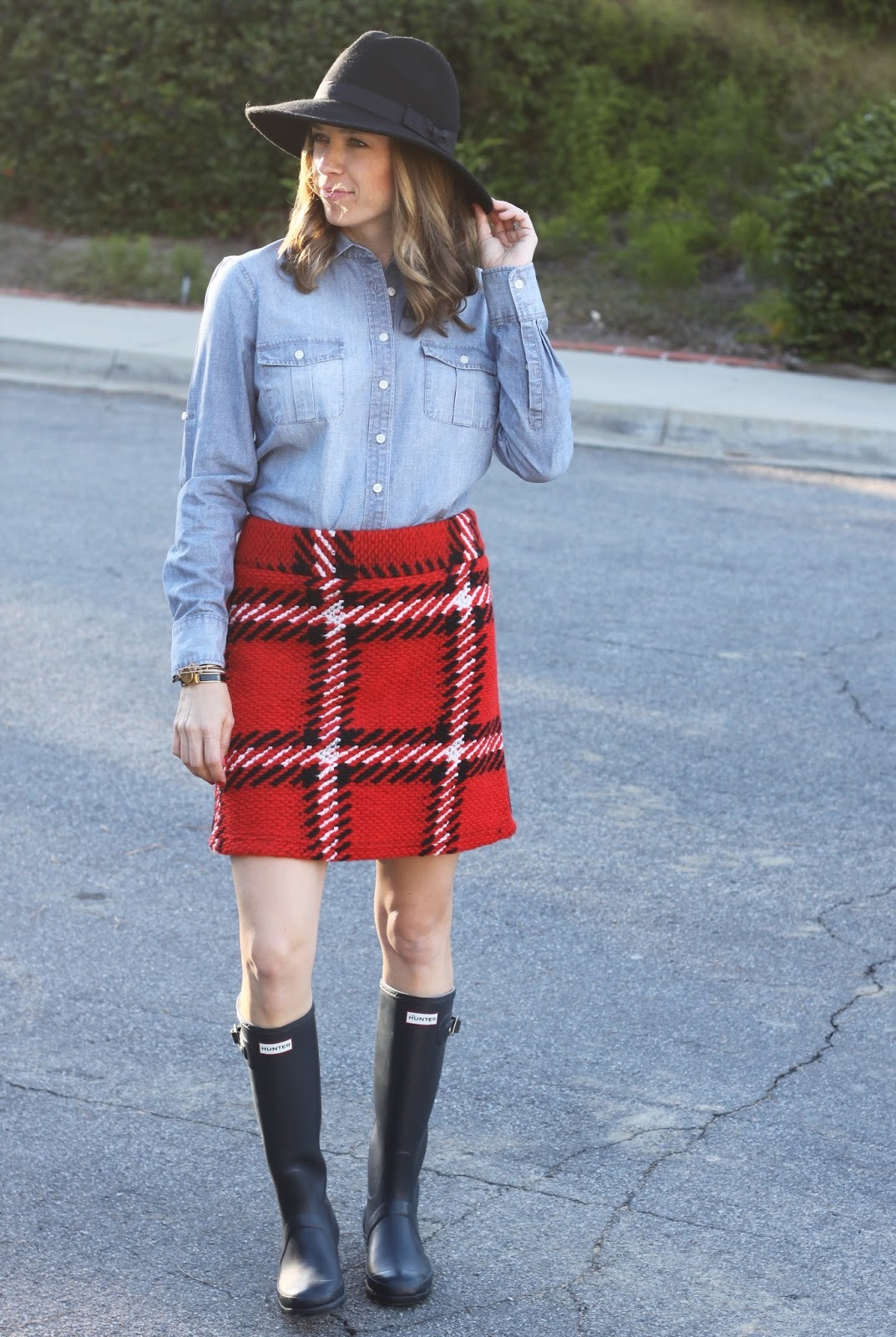 plaid skirt and chambray