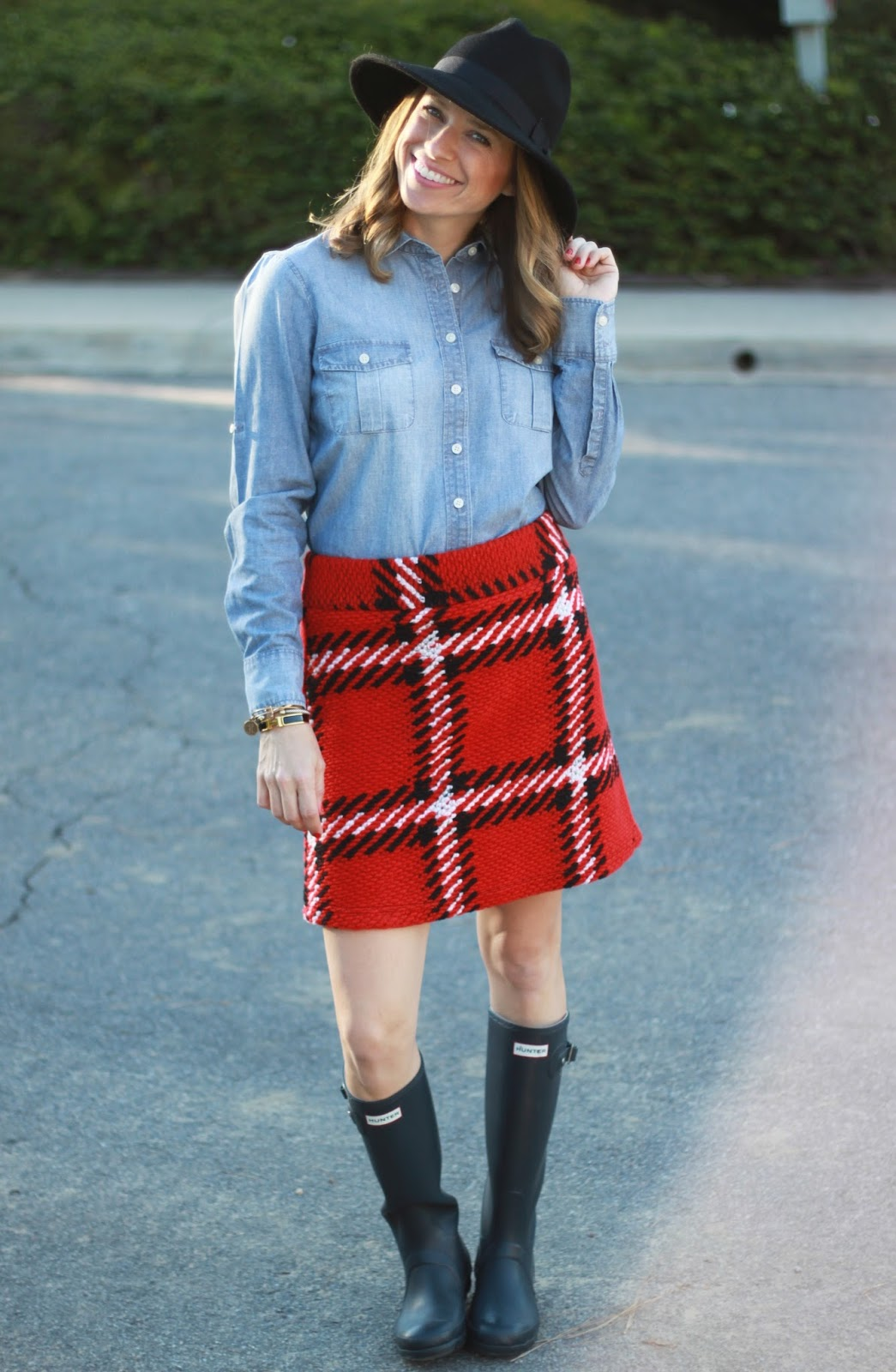chambray and skirt