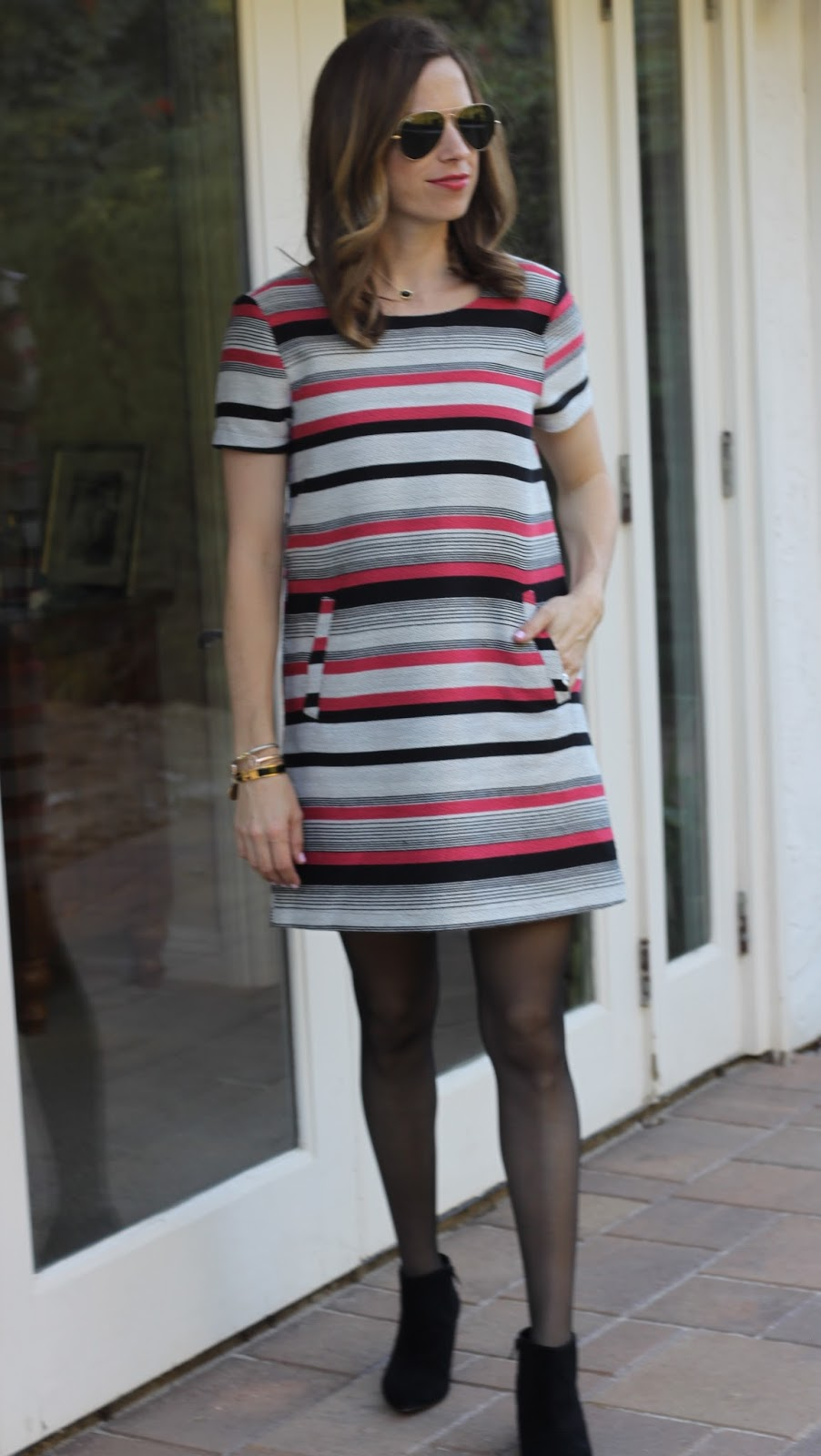 striped holiday dress