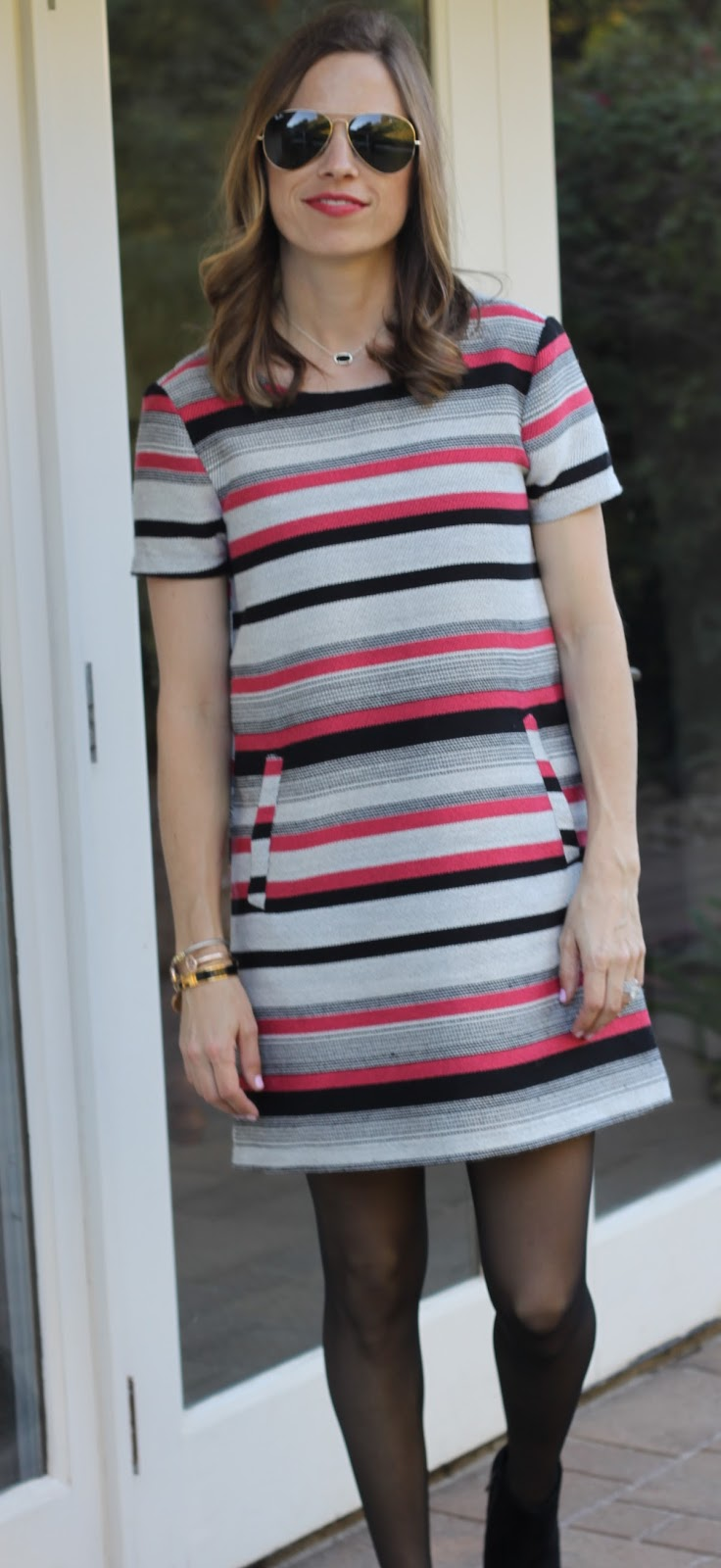 striped dress and booties