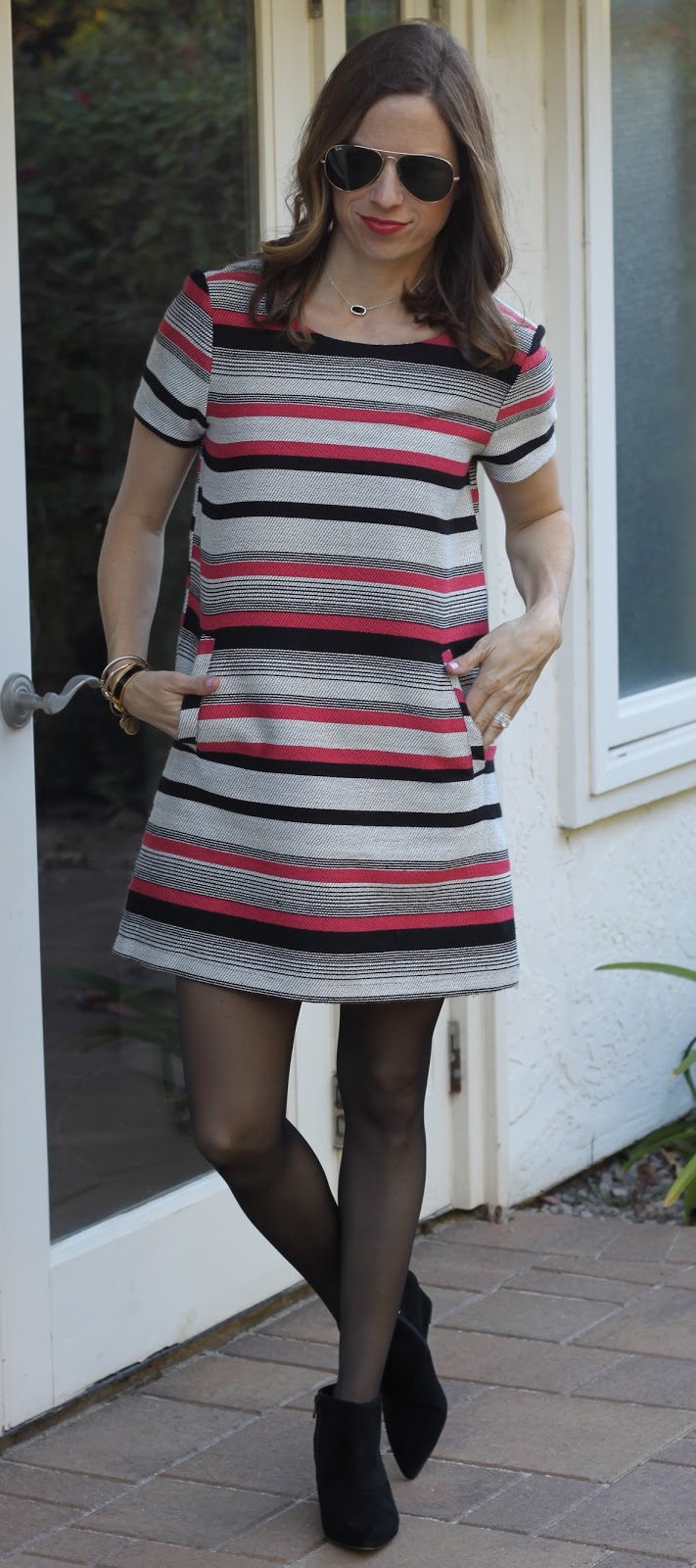 striped dress and tights