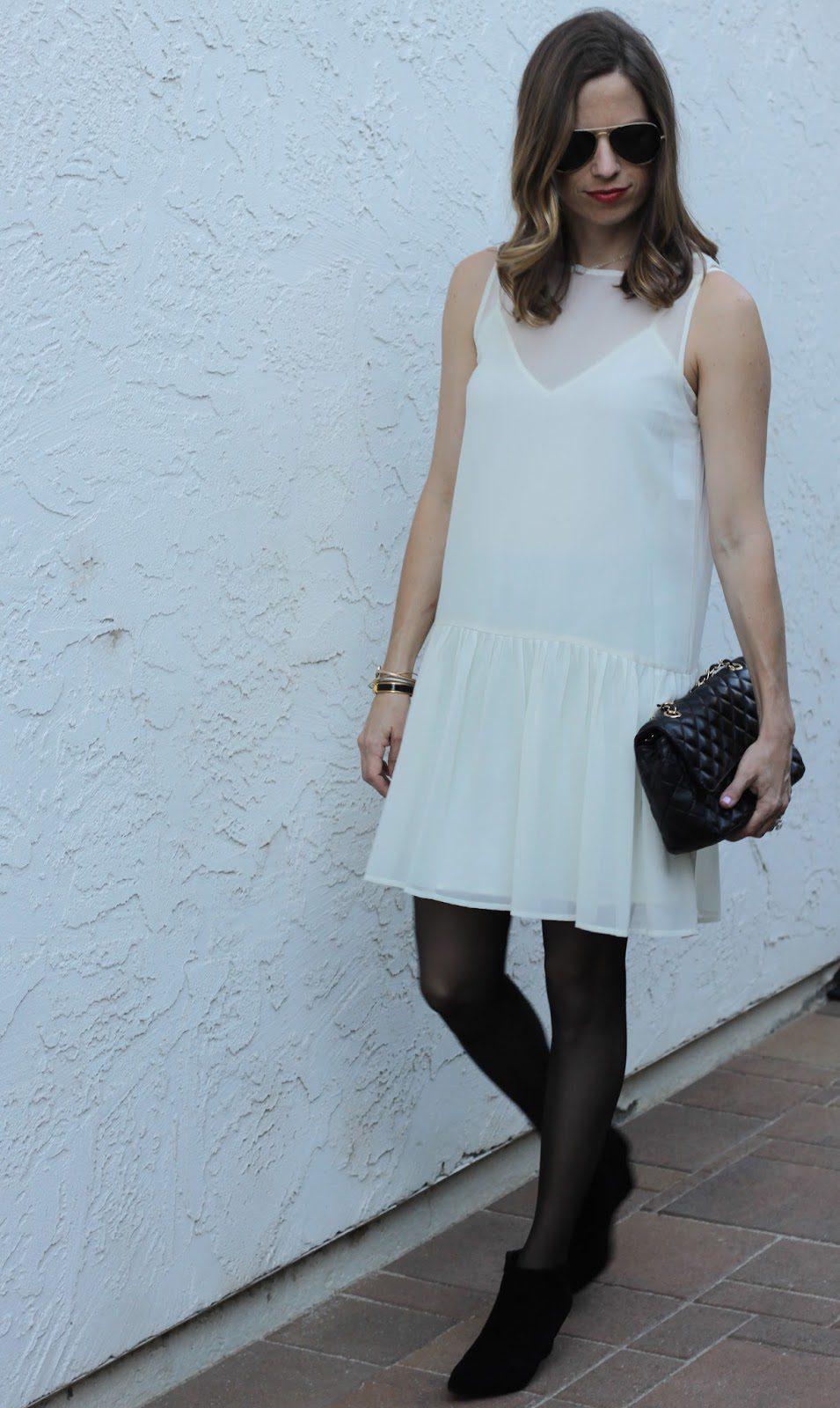 white dress in winter