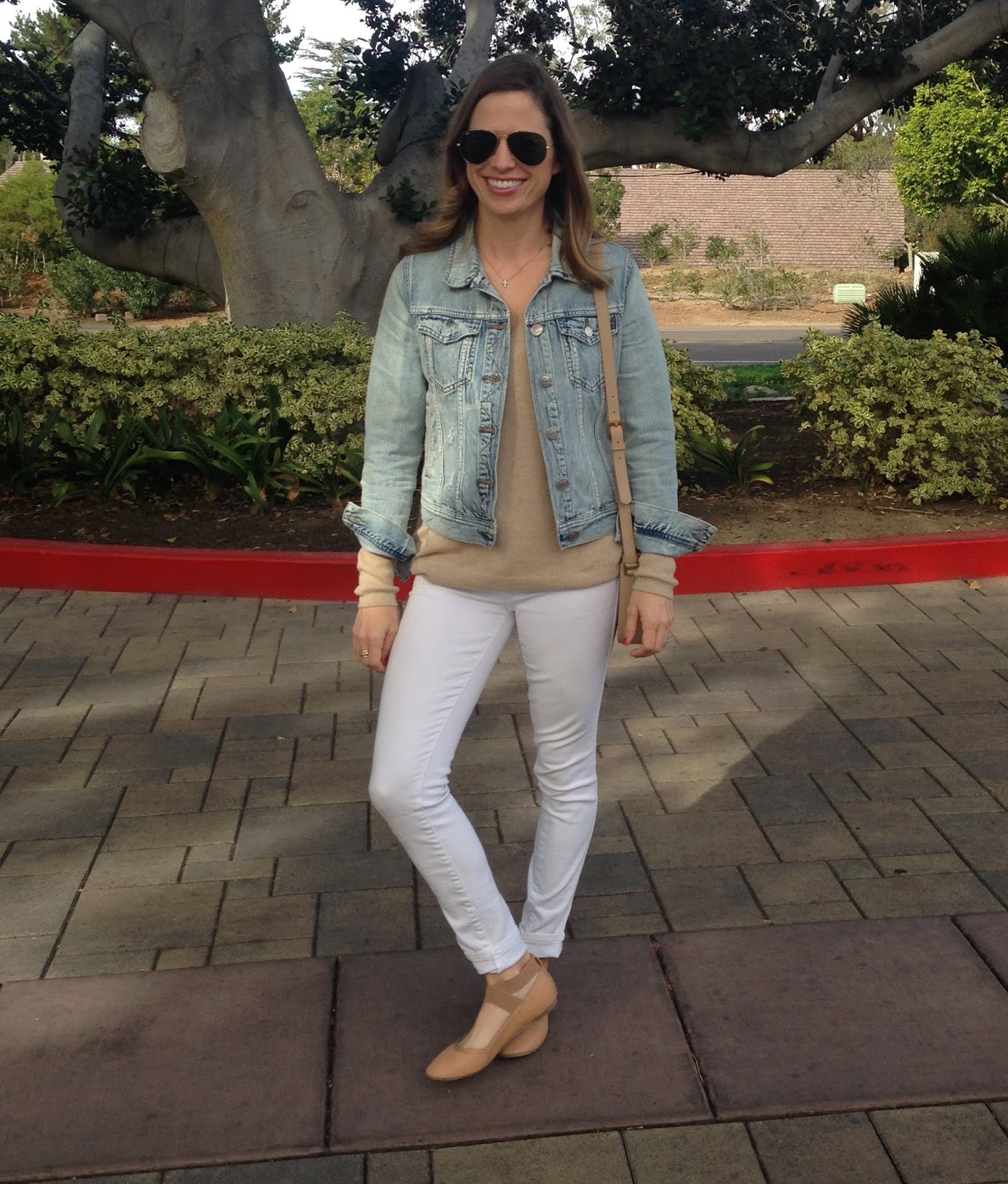 white jeans and light jean jacket
