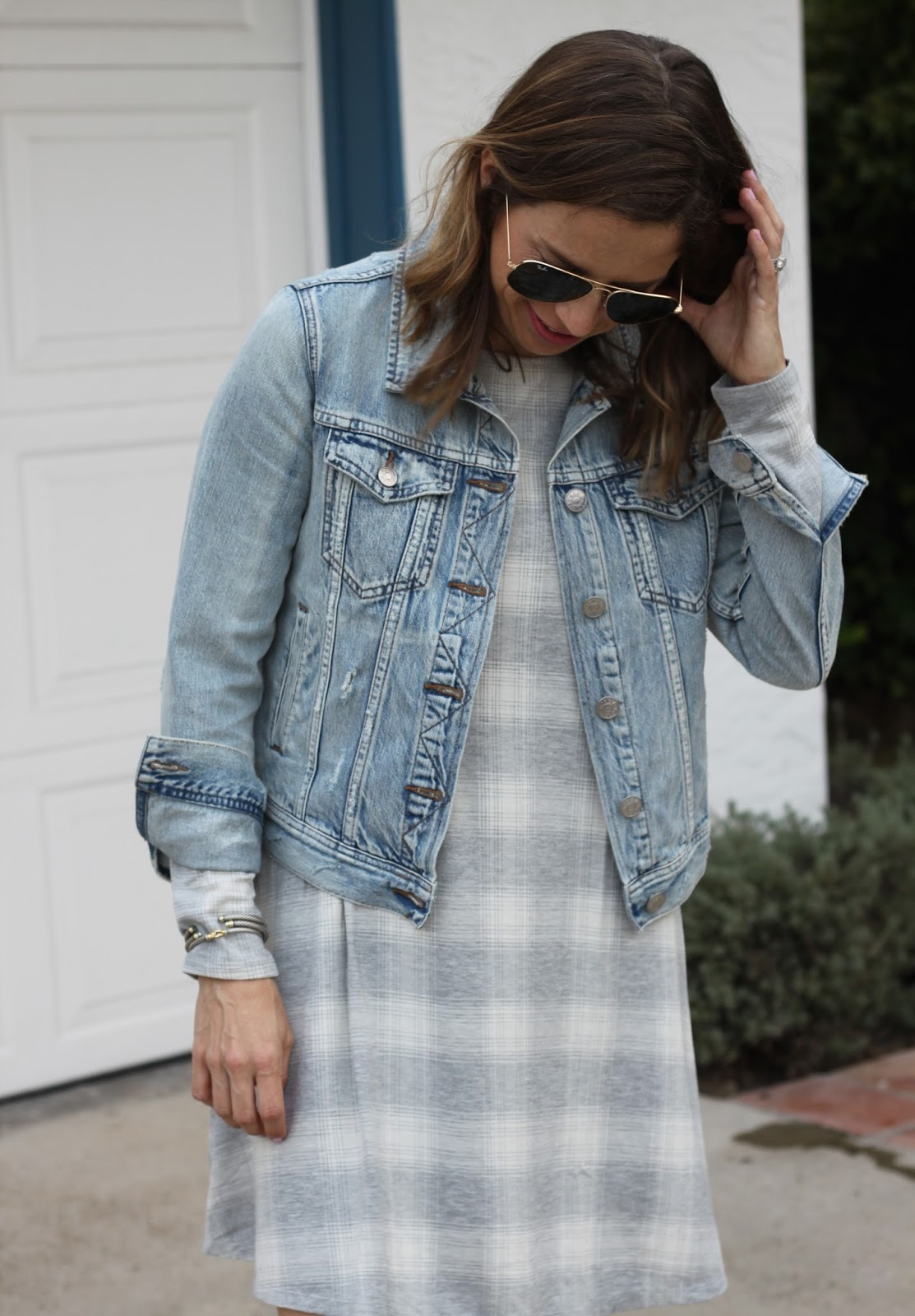 light wash jean jacket and dress