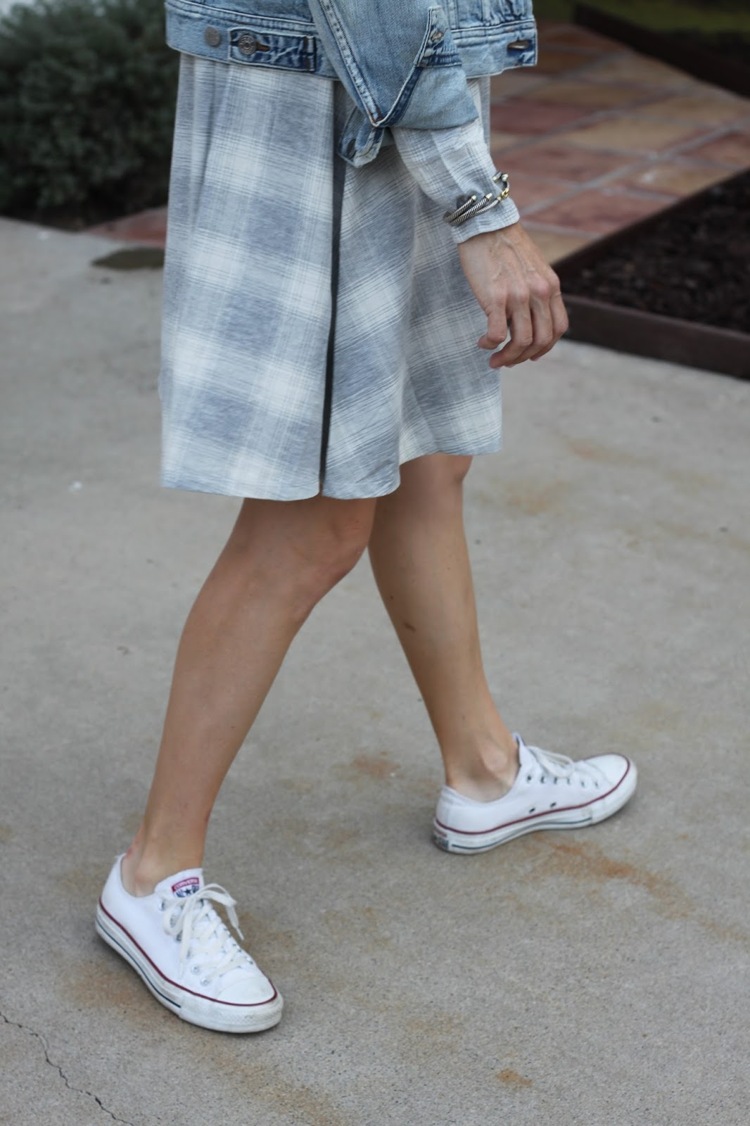 plaid dress and sneakers