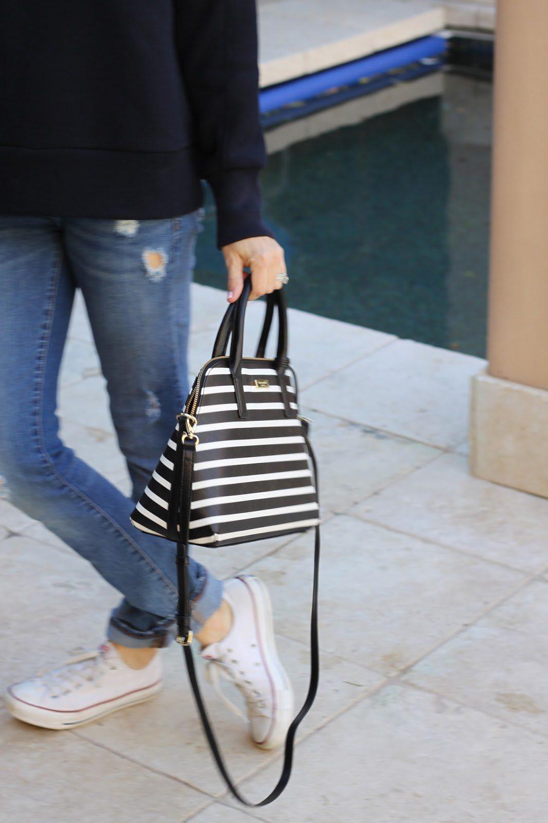black and white striped purse