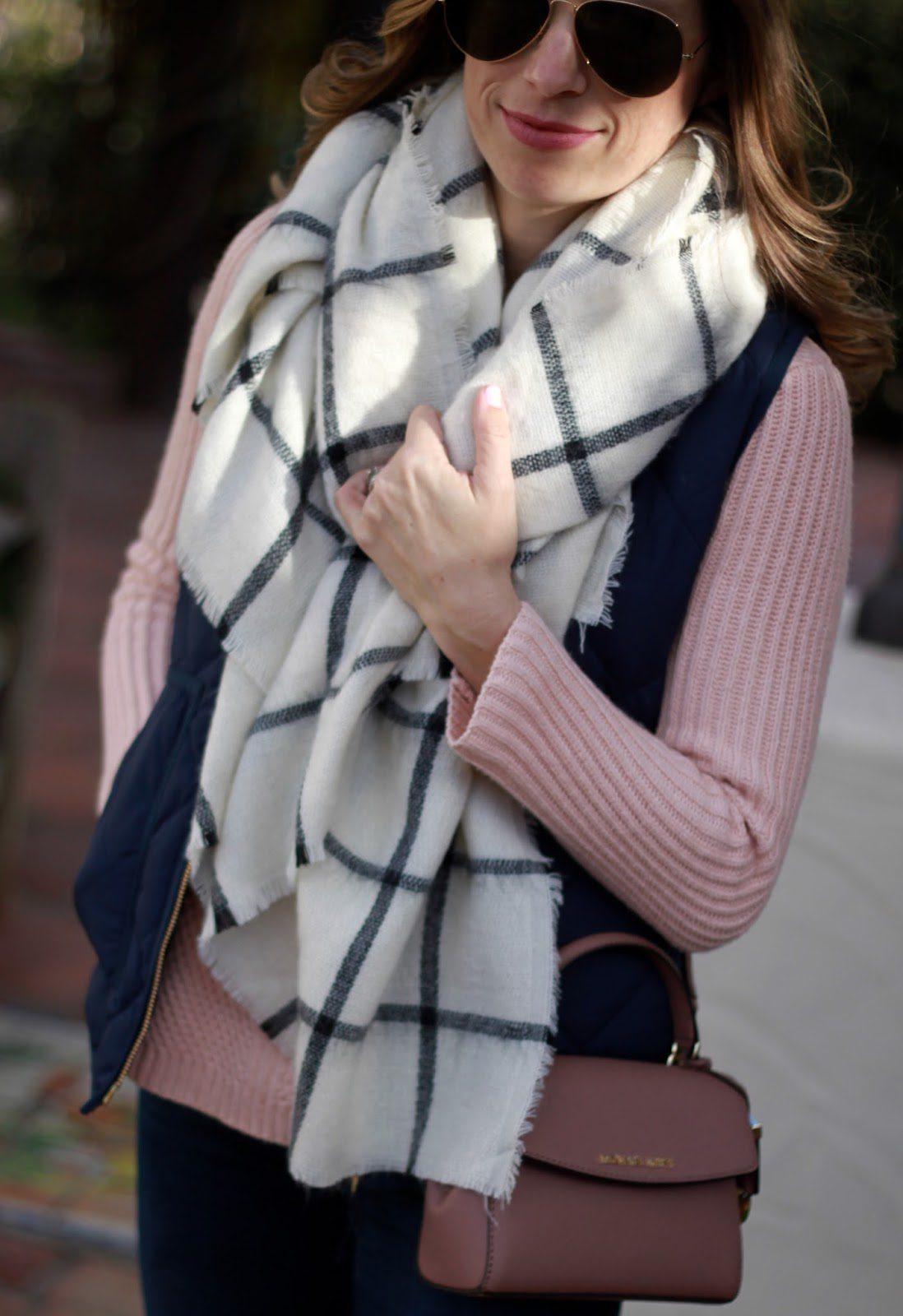 oversized grid scarf