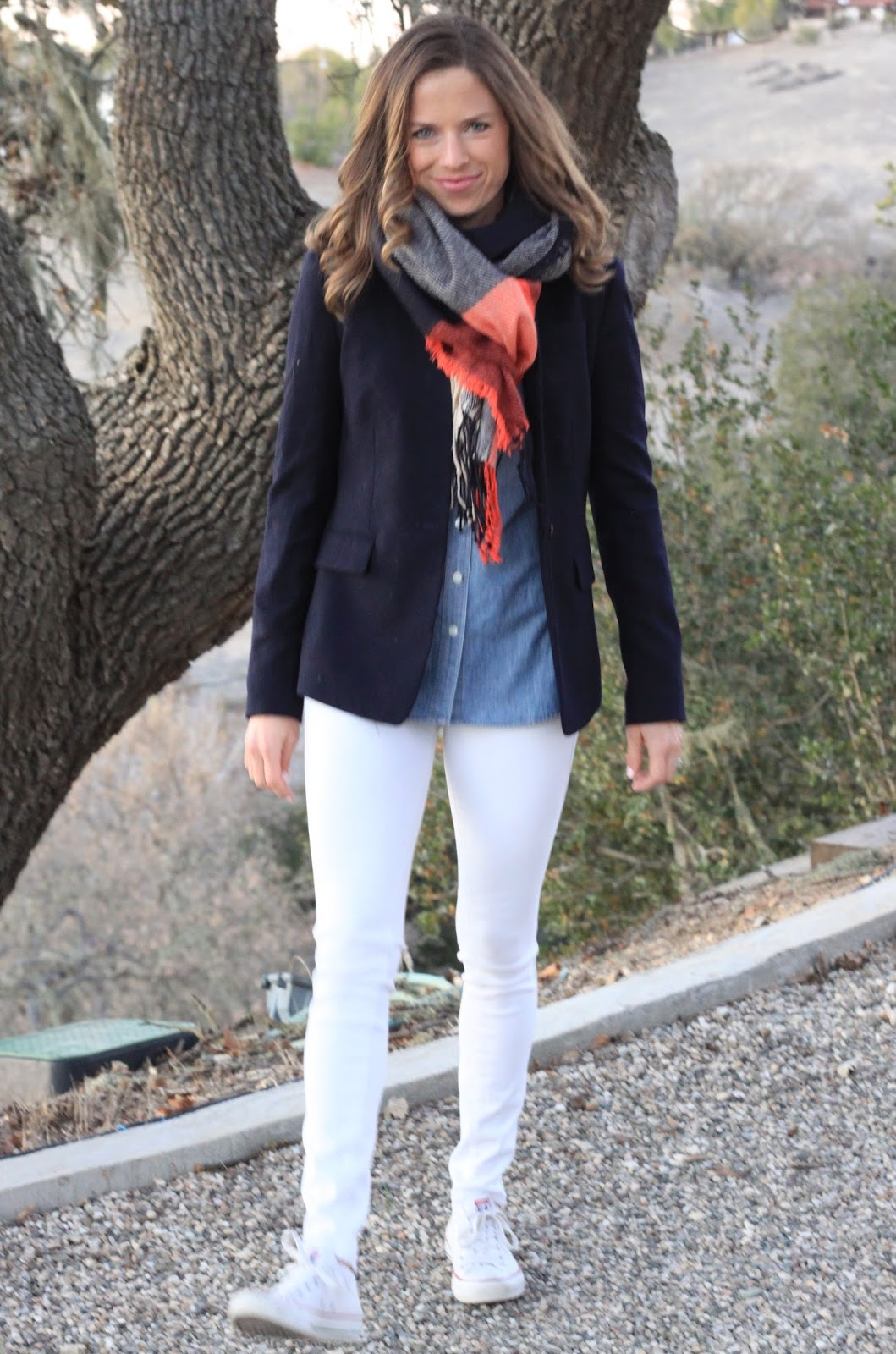 oversized navy plaid scarf