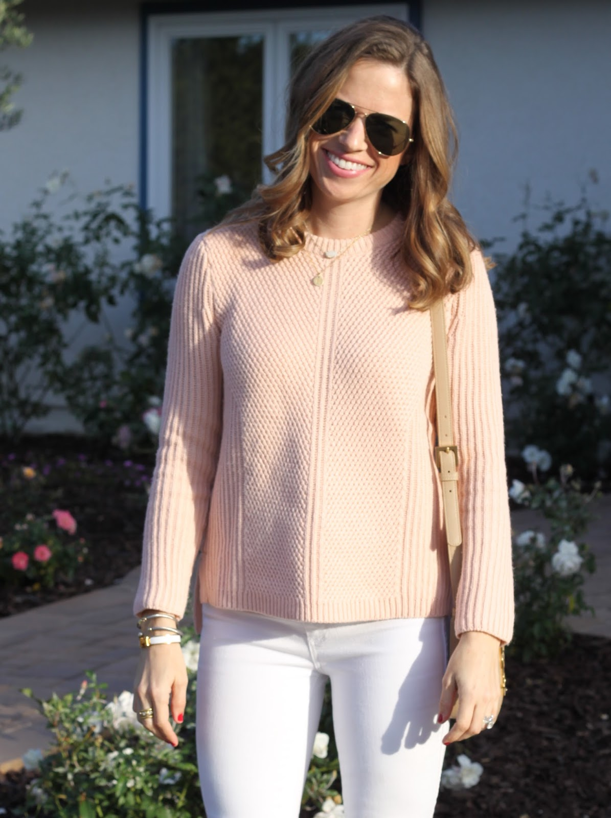 blush honeycomb sweater