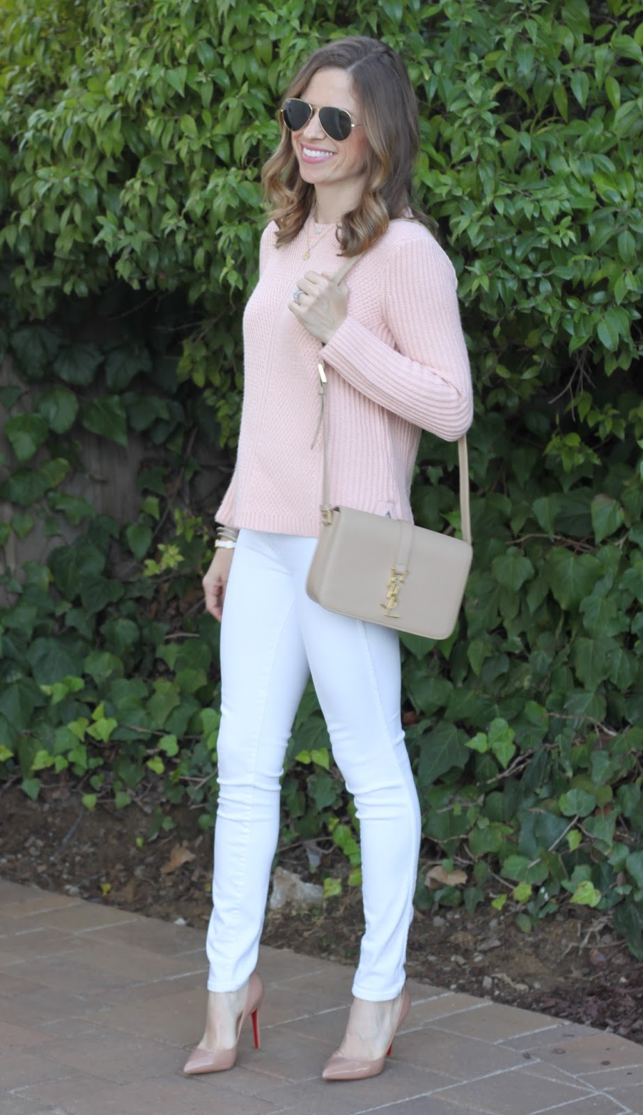 white jeans and neutrals