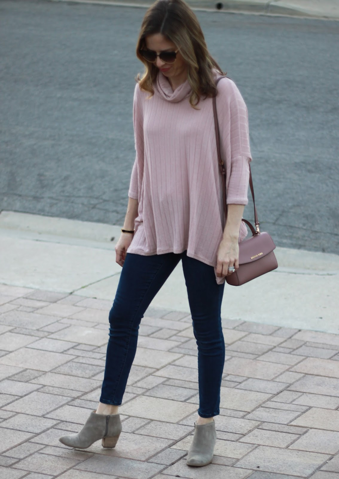 blush cowl neck tunic
