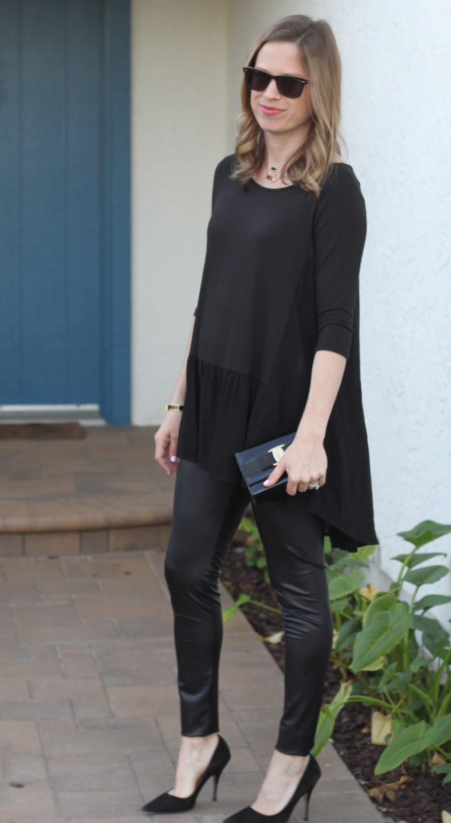 black tunic and leggings