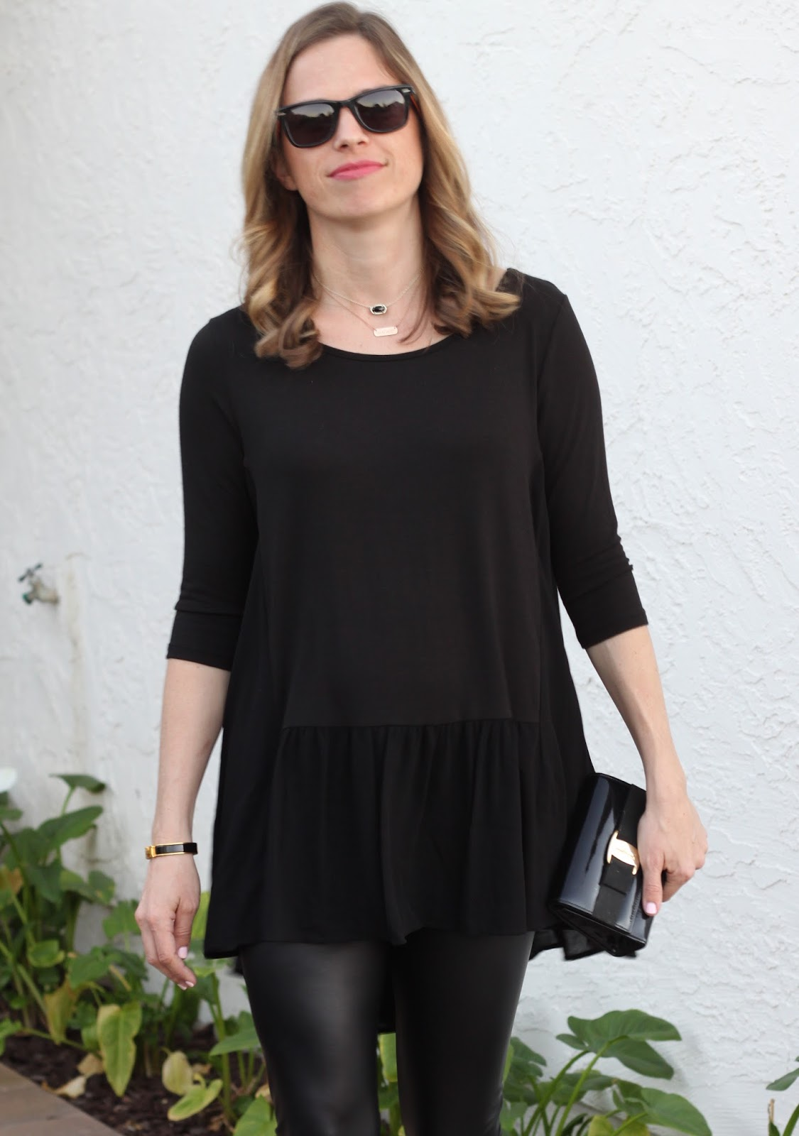 black peplum tunic