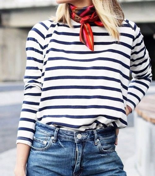 stripes and neck scarves
