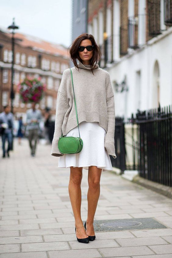 sweater and skirt street style