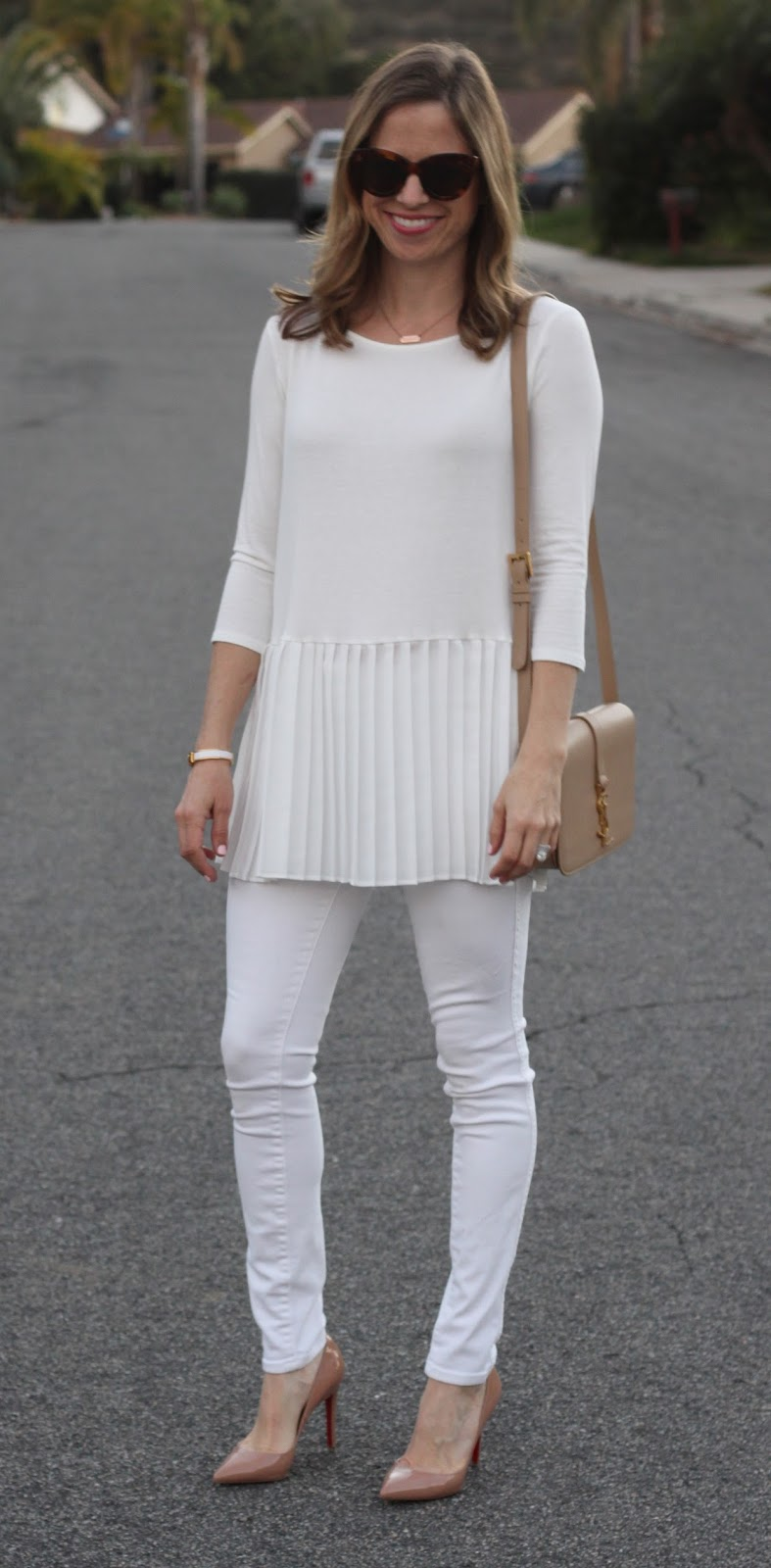 white pleated peplum top