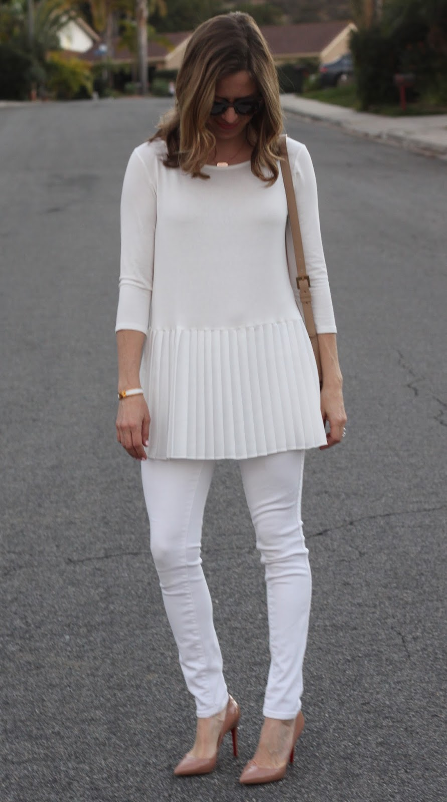 white pleated tunic