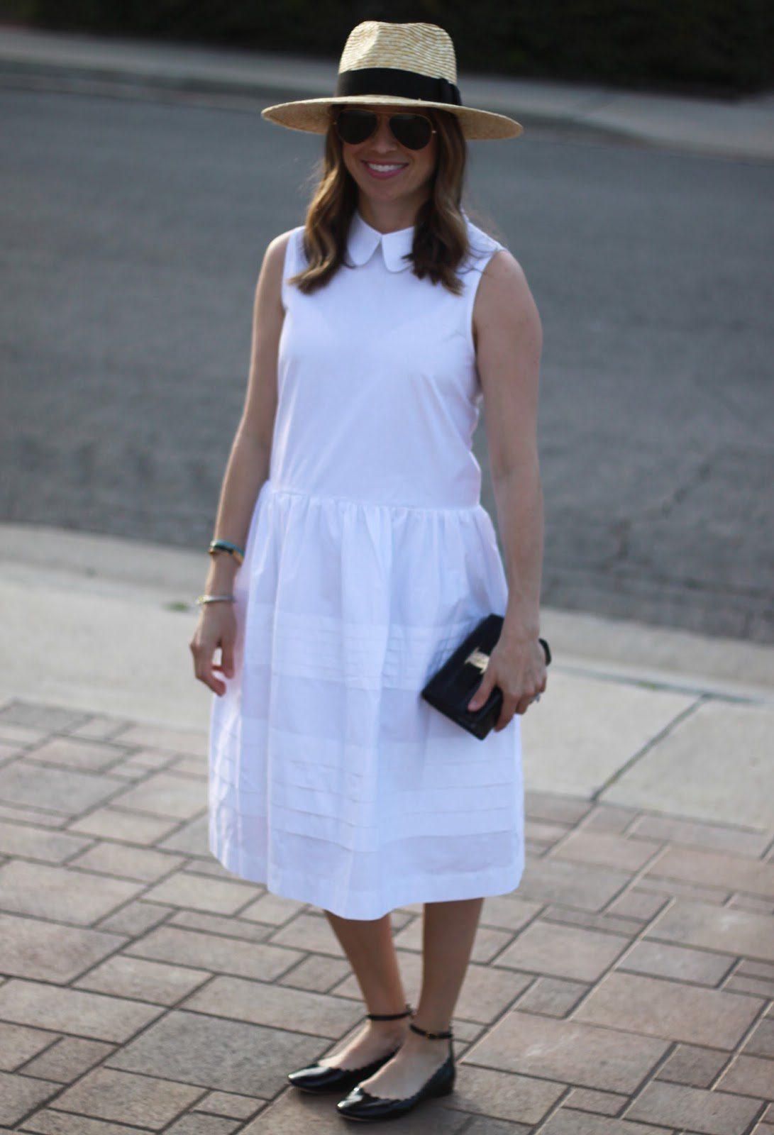 white dress and straw fedora