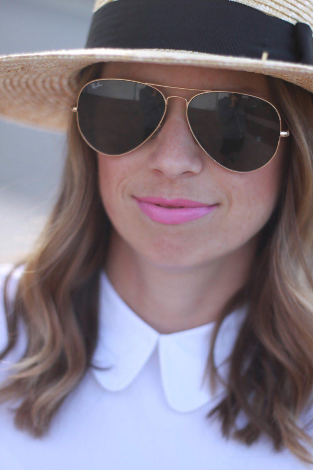 ray-ban aviators and pink lips