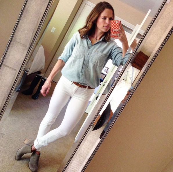 chambray and white skinny jeans