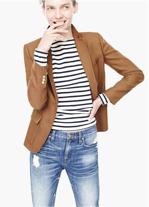 camel blazer and stripes