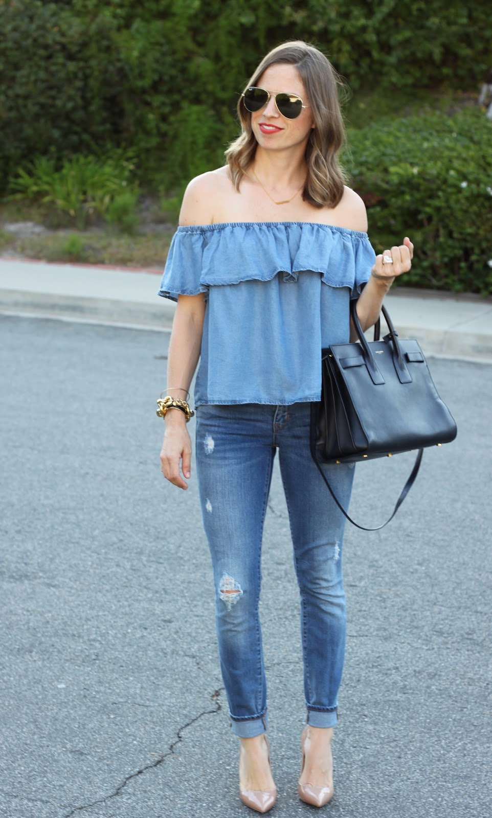 denim off the shoulder